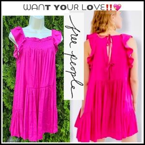 FREE PEOPLE WANT YOUR LOVE HOT PINK SLIP DRESS S